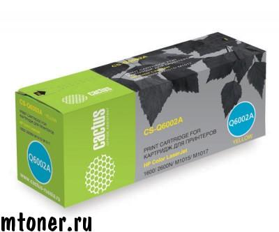 Картридж CACTUS CS-Q6002A для HP Color LaserJet 1600, 2600N, 2605, M1015, M1017, желтый, 2000 стр.