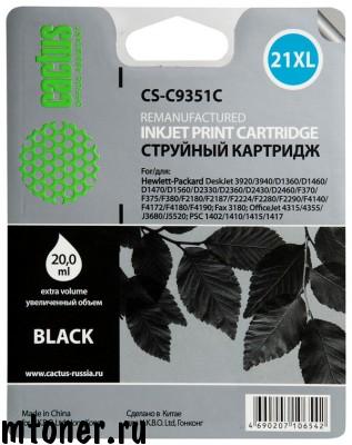Картридж CACTUS CS-C9351C 21XL, черный, для HP DeskJet 3920, 3940, D1360, D1460, D1470, D1560, D2330, D2360, D2430, D2460