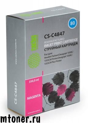 Картридж CACTUS CS-C4847 №80 для HP DesignJet 1050C, 1055CM, 1000, пурпурный,350 мл.