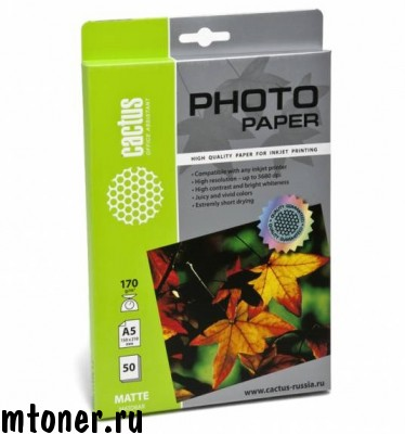 Фотобумага Cactus CS-MA517050 A5 170г 50л. белый матовое для струйной печати